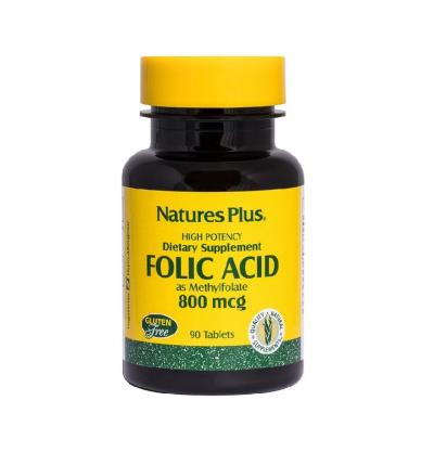 Natures Plus Folic Acid 800 mcg, 90 Ταμπλέτες