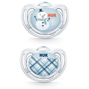 Nuk Freestyle Snow Πιπίλα Σιλικόνης Μπλε Χιονάνθρωπος 6-18 Μηνών, 2τμχ