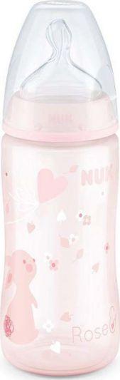 Nuk First Choice+ Μπιμπερό Ροζ Λαγουδάκι PP 0-6 Μηνών με Θηλή Σιλικόνης 300ml