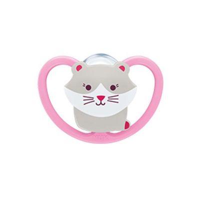 Nuk Space Πιπίλα Σιλικόνης Ροζ Γάτα 0-6M, 1τμχ