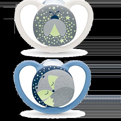 Nuk Πιπίλα Σιλικόνης Space Night Μπλε-Γκρι 6-18Μ, 2τμχ