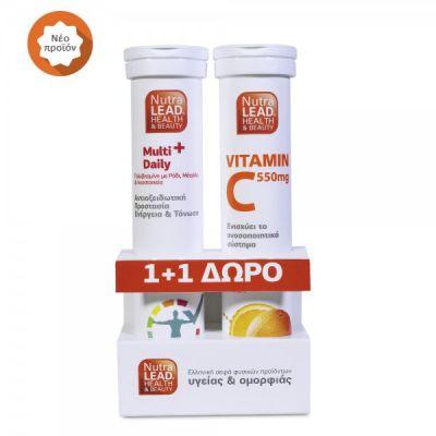 NutraLead Multi+ Daily Πολυβιταμίνη με Ρόδι & ΔΩΡΟ Βιταμίνη C 550mg 20+20 Αναβράζοντα Δισκία