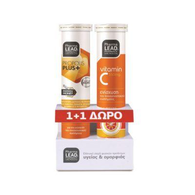 Pharmalead Πρόπολη & Μέλι Μανούκα, Εχινάκεια, Ψευδάργυρος, Βιταμίνη C & D3 20 Αναβ. Δισκία + Βιταμίνη C 550mg 20 Αναβράζοντα Δισκία