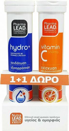 NutraLead 1+1 ΔΩΡΟ Hydro+ Ηλεκτρολύτες με Βιταμίνες & Μέταλλα και Βιταμίνη C 550mg 20+20 Αναβράζοντα Δισκία