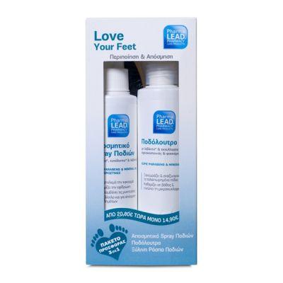 Pharmalead Love Your Feet Αποσμητικό Spray Ποδιών 150ml + Ποδόλουτρο 150ml + Ξύλινη Ράσπα Ποδιών