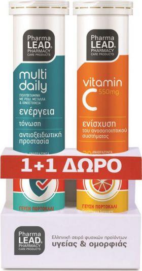 Pharmalead Multi+ Daily Πολυβιταμίνη με Ρόδι & ΔΩΡΟ Βιταμίνη C 550mg 20+20 Αναβράζοντα Δισκία