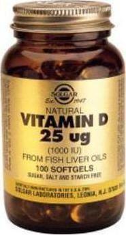 Solgar Vitamin D3 1000IU(25mg) 100 Μαλακές Κάψουλες