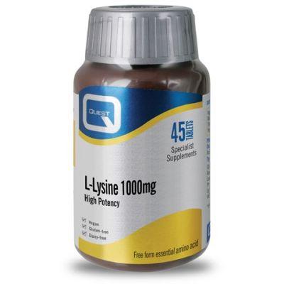 Quest L-Lysine 1000mg Υψηλής Περιεκτικότητας Λυσίνη, 45 Ταμπλέτες