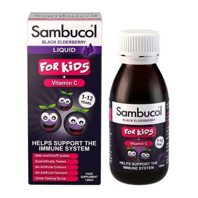 Olvos Sambucol Black Elderberry For Kids + Vitamin C Παιδικό Σιρόπι από Σαμπούκο για την Ενίσχυση του Ανοσοποιητικού 120ml