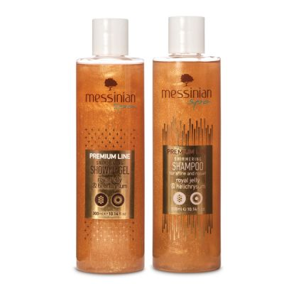Messinian Spa Set Shower Gel Royal Jelly & Helichrysum 300ml + ΔΩΡΟ Premium Line Shampoo Royal Jelly & Helichrysum 300ml
