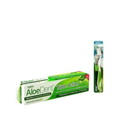 Optima Aloe Dent Triple Action Toothpaste 100ml + Δώρο Οδοντόβουρτσα Πράσινη