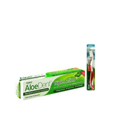 Optima Aloe Dent Triple Action Toothpaste 100ml + Δώρο οδοντόβουρτσα Κόκκινη