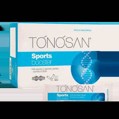 Uni-Pharma Tonosan Sports Booster Συμπλήρωμα Διατροφής Σχεδιασμένο για Ανθρώπους που Καταπονούν συχνά τον Οργανισμό τους 20 Φακελίσκοι