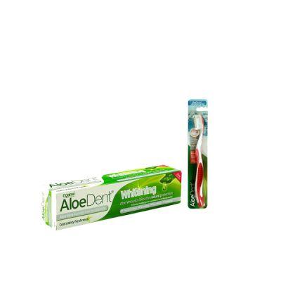 Optima AloeDent Whitening Toothpaste 100ml + Δώρο οδοντόβουρτσα Κόκκινη