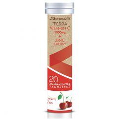 Genecom Terra  Βιταμίνη C 1000mg + Ψευδάργυρος με γεύση κεράσι 20 Αναβράζοντα Δισκία